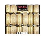 Confezione da 6 - Grandi Deluxe Gold Decorato Natale Crackers - Decorazioni da tavola di Natale