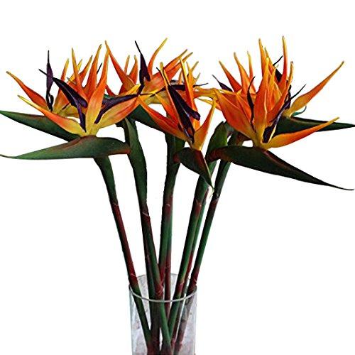 Ramo artificial de flores de ave del paraíso 90 cm Calcifer, ramo de flores para decorar casa, jardín, bodas y fiestas., Naranja, Package Quantity: 5 Pcs