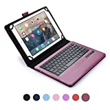'Cooper Cases (TM) Infinite Executive 9 ' – 10.1 inch Tablet Bluetooth Keyboard Folio in Dark Purple (Pleather Cover, Built-in Stand, Removable QWERTY Keyboard, Rechargeable Battery)