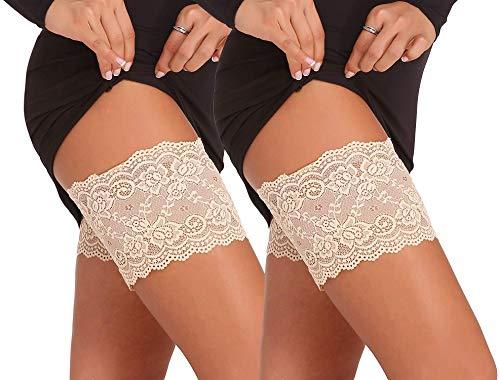Memoryee Damen Elastische Oberschenkelbänder Socken Anti Chafing Thigh Bands Lace Oberschender Bänder Anti-Scheuern/Kleine Blume - Hautfarbe-2 Paar/L(64-68cm)