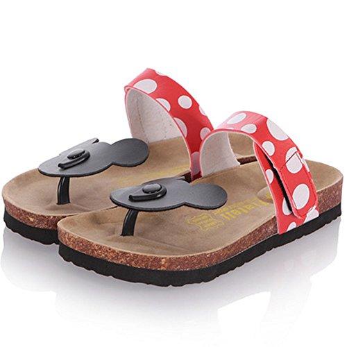 TAOFFEN Damen Mickey Mouse Dote Flip Flops Gemutlich Flach Sandalen Rot