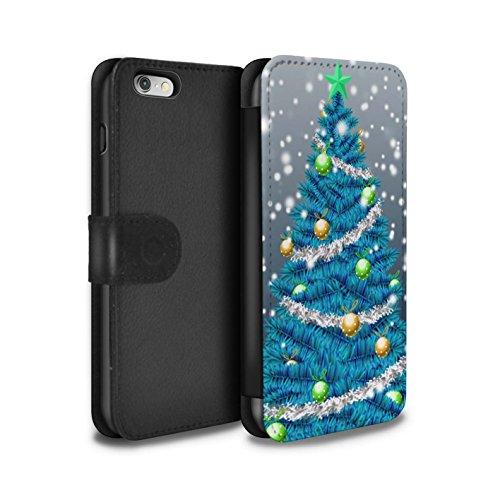STUFF4 PU-Leder Hülle/Case/Tasche/Cover für Apple iPhone 6 / Lila Muster / Weihnachts Tannenbaum Kollektion Blau