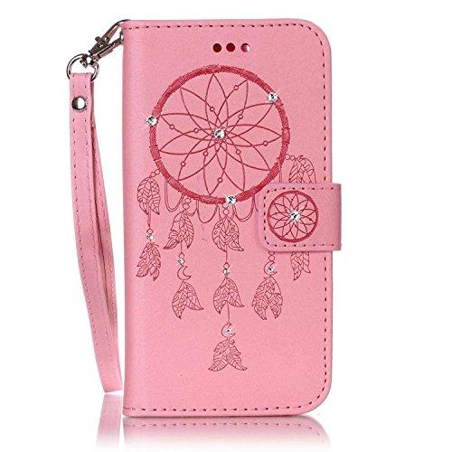 """MOONCASE iPhone 7 Coque, Bling Crystal Diamond Gaufrage Motif Portefeuille Housse en PU Cuir Étui de Protection Case pour iPhone 7 (4.7"""") (Fleur Or) Campanule Rose"""