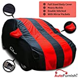 Autofurnish Stylish Red Stripe Car Body Cover For Hyundai Elite I20 - Arc Blue