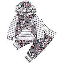 Funnycokid Neonato Bambina Manica Lunghe Cappuccio Vestiti cappotto floreale Top Felpa & Pantaloni Due Pezzi Suit
