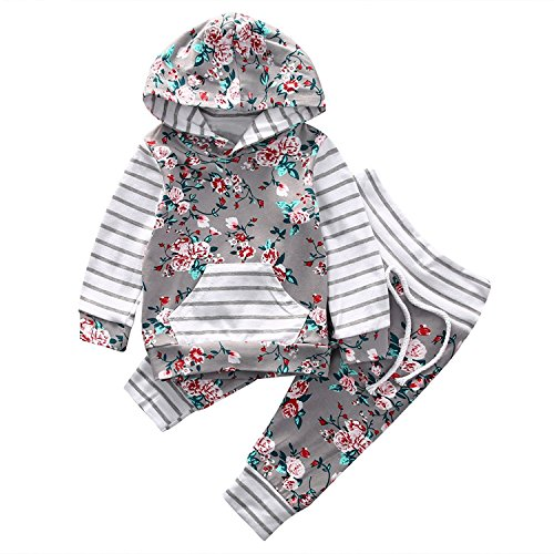 Funnycokid Outfits Set Kapuzenhemd Pulloverhemd Hoodie Kapuzenpullover + Blumig Drucken Leggings Hosen Krabbelhose Jogginghose Baby Junge Mädchen Elegant Kindermode Schlafanzug (Elegant Baby-kleidung)