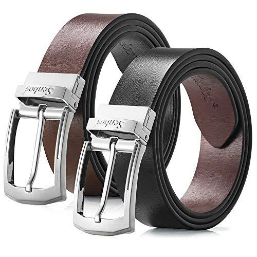 Senbos Cinturón para Hombre Cuero Reversible Bicolor Negro y Marrón con Cinturón de Cuero Genuino con Hebilla, Cinturones Elegantes para Pantalones Vaqueros, Casuales o Formales 3.5 cm Ancho