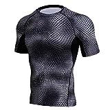 T-Shirt de Compression Homme Sports, Homme Workout Fitness Sports Gym Chemise Athlétique Top Manches Courtes, Elastiques Respirant T-Shirt de Running Quick Dry Ba Zha Hei (L, Rouge)