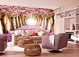 Persönlichkeit große Wandbild Kirschtapete 3D stereoskopische Tapete TV Schlafzimmer Bett rosa warm Hintergrundwand, 350 × 245 cm