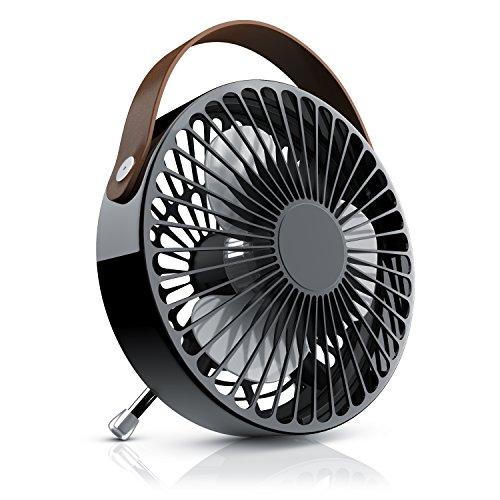 CSL - Tischventilator - mini USB Ventilator | leises Betriebsgeräusch Ein/Aus-Schalter | ca. 30° neigbar | Schreibtischventilator im Design Look schwarz/braun