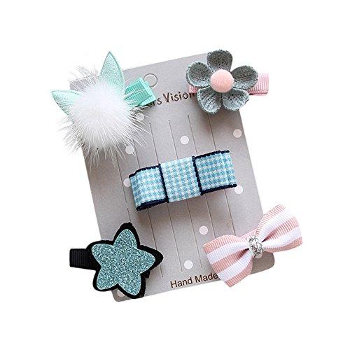 Kobay 5 Stücke Kinder Infant Haarnadel Baby Mädchen Bogen Blume Haarspangen Star Hair Clip Set