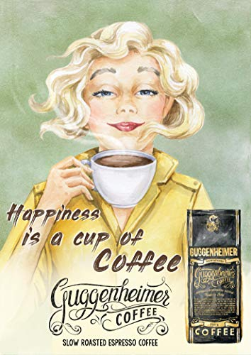 r - Happiness is a Cup of Coffee - Bild Kunstdruck 50 x 70 cm - Café Bar Pub Einrichtung ()