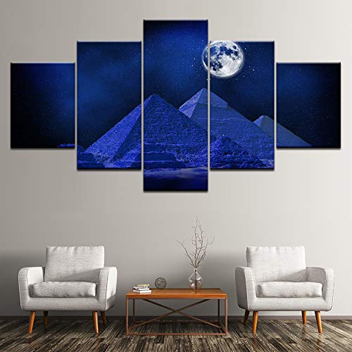 HQATPR Diamant Malerei Werkzeug Set Pyramide und Blauer Mond-Segeltuch-Kunst, die 5 Platte Hd-Druck für Hauptwohnzimmer-Dekoration Malt - Crystal Malt