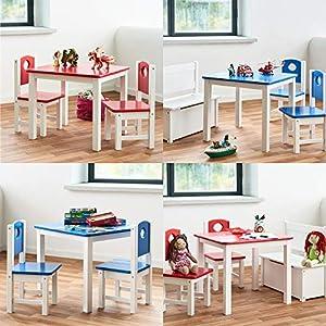 Diluma Kindersitzgruppe Blau – 3-teiliges Kindermöbel Set: 1 Tisch und 2 Stühle – Top Möbel-Qualität aus Kiefer Massivholz – Kindertisch Kinderstühle für Jungen und Mädchen