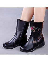 GTVERNH-En La Madre De Mediana Edad Winter Boots Shoes, Zapatos De Mujer Botas De Estilo Folk, Con Fondo Plano...
