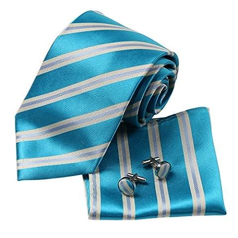 H8046 Lumi¨¨re Sea Green rayures Bleu Soie Cravate Boutons de manchette Mouchoir ??Set 3PT par Y&G