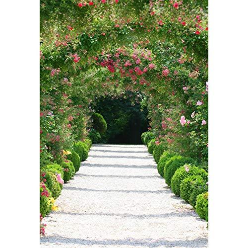 YongFoto 1,5x2,2m Polyester Foto Hintergrund Frühlingsgarten Landschaft Pergola Pfad Blühende...