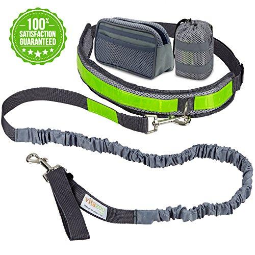vitazoo Jogging Hundeleine mit Bauchgurt und Reflektor-Streifen (1,2 m - 2,0 m) für kleine und mittelgroße Hunde zum freihändig Spazieren oder Joggen gehen