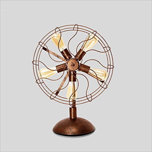 LILY Amerikanische Retro industrielle Wind-Dachboden-Ventilator-Lampe, antike kreative Bar-Kaffeestube-Lampe Lily Lampe