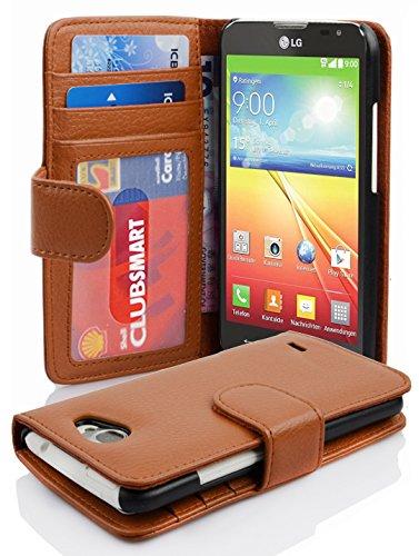 Preisvergleich Produktbild Cadorabo Hülle für LG L70 Hülle in Cognac braun Handyhülle mit 3 Kartenfächern Case Cover Schutzhülle Etui Tasche Book Klapp Style Cognac-Braun