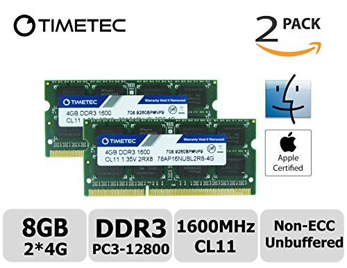 Timetec Hynix IC Apple DDR3 1600MHz PC3-12800 SODIMM Memory Upgrade For MacBook Pro 13-inch/15-inch Mid 2012, iMac 21.5-inch Late 2012/Early 2013,27-inch Late 2012/ 2013,Retina 5K display Late 2014/Mid 2015,Mac mini Late 2012/ Server (8GB Kit (2x4GB))