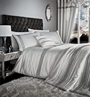 """Banded Diamante Pintuck Stripe Pearl White Silver Lined 66"""" X 72"""" - 168cm X 183cm Ring Top Curtains by Curtains"""