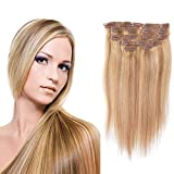 Clip In Hair Extensions gerade blonde Remy Echthaar mit Doppel-Tresse, seidig Clip in Hair Extensions Echthaar 10 A Grade (18 inches, (27/613 color))