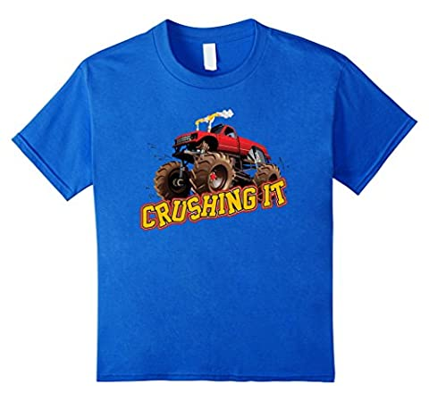 Monster Truck CRUSHING It red monster truck design Kinder, Größe 104 Königsblau