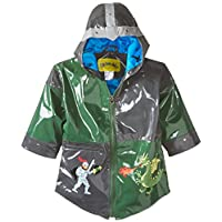 Kidorable Dragon Knight Grey/Green PU All-Weather Raincoat For Boys With Fun Knight