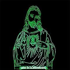 Idea Regalo - Gesù Cristiano 3D Optical Illusion Visiva Illuminazione LED Luce Notturna Lampada Da Tavolo 7 Cambiamento Colore Pulsante Touch USB Atmosfera Lampada Da Notte Led Regalo Per Bambini Di Natale