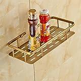 ZJM Les supports en cuivre, cuivre antique panier de rangement salle de bains, télévision crochet double paniers, panier de coin , seul