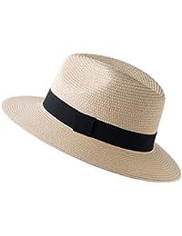 ACVIP Damen Sommer Freizeit Strohhut Panamahut Breite Krempe mit Dekoration