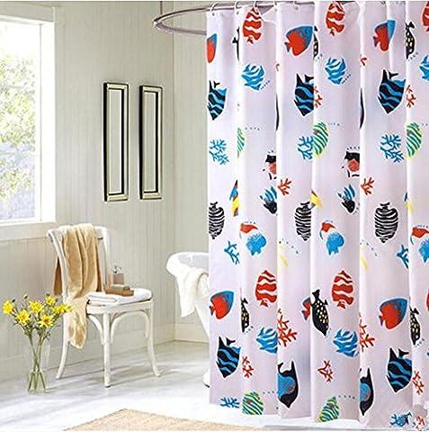 Rideaux de douche Polyester 3D Petit poisson Moule épais Salle de bain étanche Rideau de salle de bain Barrière Rideaux Multi-taille, avec des crochets , 180*200