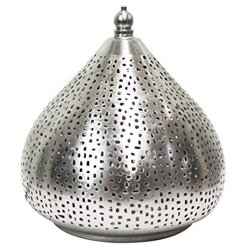 Gold-mosaik-tisch-lampe (Orientalische kleine Tischlampe Lampe Roya 23cm Silber | Marokkanische Tischlampen klein aus Metall, Lampenschirm silberfarben | Nachttischlampe modern, für Vintage, Retro & Landhaus Stil Design)