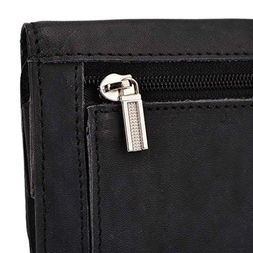 Kroo Pochette en cuir véritable téléphone portable Housse pour Asus ZenFone 2ze550ml et Violet - violet noir - noir