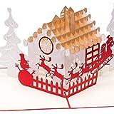 'Biglietto di Natale 'paesaggio di Natale 3d pop up, fatto a mano, Natale, Casetta con pupazzo di neve, albero di Natale, Babbo Natale con slitta e renne, carta, biglietti di Natale, biglietto d' auguri, biglietti d' auguri a Natale