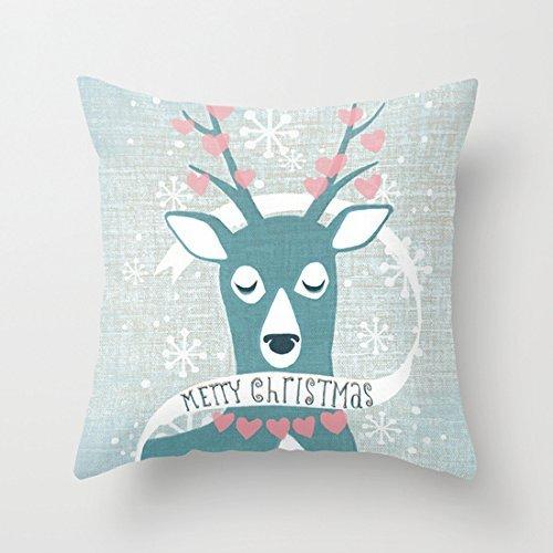 GONIESA Blue Deer Christmas Cute Christmas Pillow Covers for Teens Accent Pillows for Sofa Pillowcase 18x18 Inch/45cmx45cm