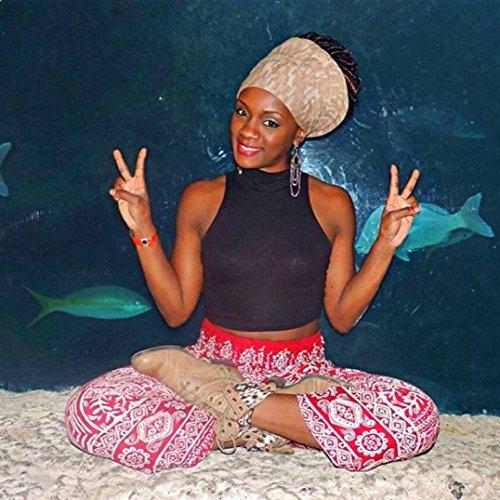 Yoga Pants Donna,Uomini donne pantaloni boho Festival hippy grembiule alta vita yoga pantaloni ad alta vita ultra soft leggings leggeri-alto aumento di Yoga Pants Morwind Vino