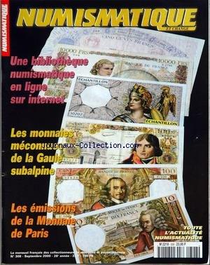NUMISMATIQUE ET CHANGE [No 308] du 01/09/2000 - une bibliotheque numismatique en ligne sur internet - les monnaies meconnues de la gaule subalpine les emissions de la monnaie de paris