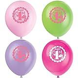 Partido Ênico de 12 pulgadas de látex Safari 1er cumpleaños hincha (paquete de 8, rosa)