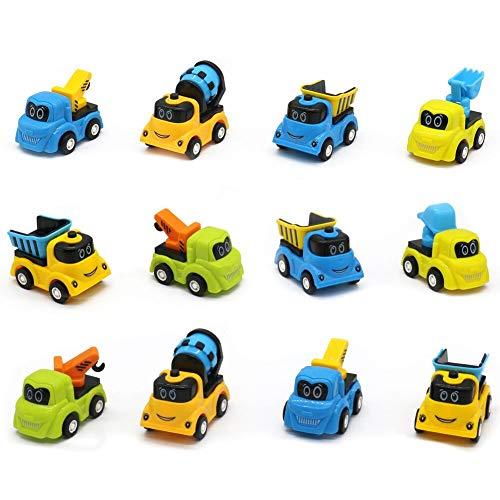 Petfu Mini Spielzeugautos Rennfahrzeug Truck Set Zurückziehen Autos 12 Stück Dekoration für Jungen Mädchen