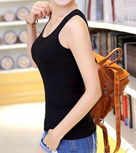 Frauen Reine Farbe Süßigkeiten Farbe Sport Große Größe Weste ärmellose Schlinge Shirt Baumwolle Selbst-Anbau Schwarz
