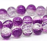 100 X Purple & Clear Glass Crackle Beads 8 mm