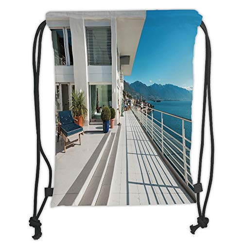ck Backpacks Bags,White Decor,Penthouse Summer Home with Wide Patio Balcony Veranda with Sea Scenery,White and Sky Blue Soft Satin,5 Liter Capacity,Adjustable String Closur ()