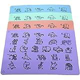 Platzset für Kinder, Silikon Tischset 4 Stück - Platzdeckchen/Platzmatten im 4er Set - Tischunterlage mit ABC und Tieren - versch. Farben