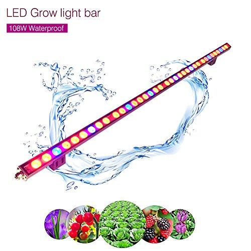 Roleadro 108w Pflanzenlampe LED Streifen Bar für Gewächshaus Planze Wachsen Blume Growbox IP65 Wasserdicht 115cm