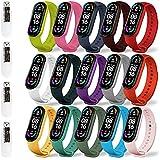 Leelbox [19 unités] 15 Coloré Bracelet +4 Pièces TPU Protection écran pour Xiaomi Mi Band 6/Xaiomi Mi Band 5, Bracelet de Rem