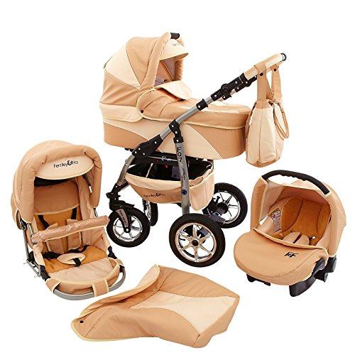 Ferriley & Fitz Daytona Eco Leder Kinderwagen Komplettset (Autositz & Adapter, Regenschutz, Moskitonetz, Getränkehalter, Schwenkräder) 80 Beige Creme Leder