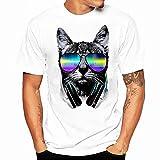 Shirts Sommer Herren, Sunday Drucken Herren Damen Kurzarmshirt Katze Printing Tees Shirt Kurzarm Baumwolle T-Shirt Casual Basic O-Neck Bluse Sweatshirt (L, B)