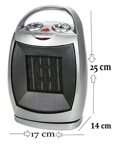 Keramik Heizlüfter 180° Rotierend Bad Schnell Heizer Heizung elektro 750 Watt - 1.500 Watt einstellbar 3 Stufen (kalt,warm,heiß) Thermostat mit Kalt Luft Funktion -